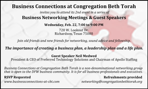 Business Connections at Congregation Beth Torah Feb 2012